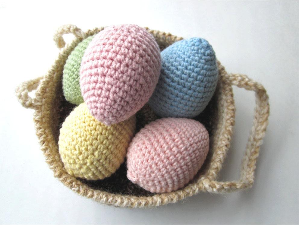 Crochet Egg Basket : Easter Eggs in Basket Crochet Easter Decoration