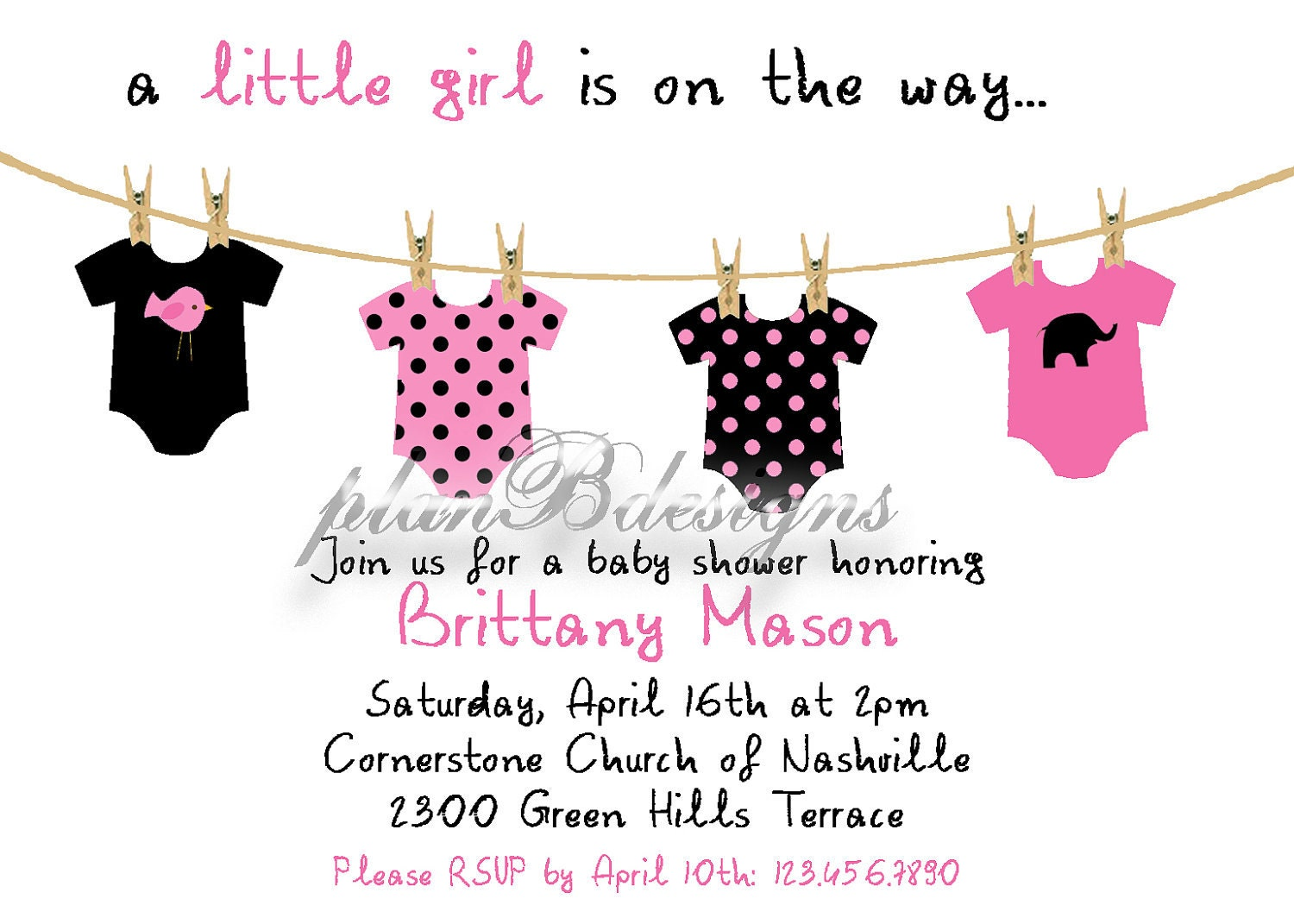 Onesie Clothesline Baby Shower Invitation Colors by planBdsigns