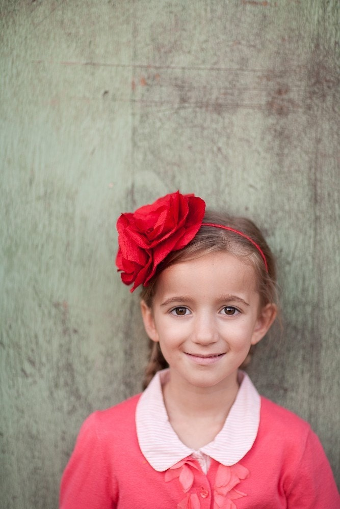 Love Days- A  red flowery headband