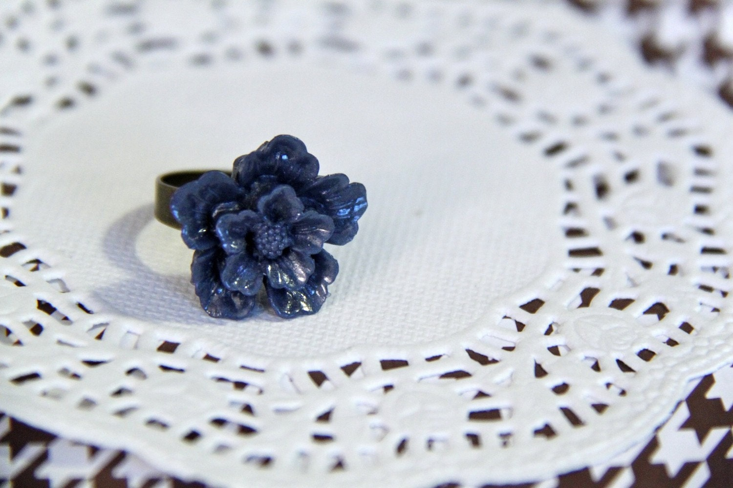 Navy Blue Sakura Ring