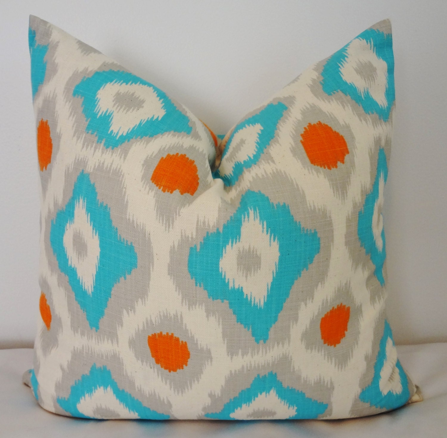turquoise blue orange grey ikat pillow cover by homeliving on etsy. Black Bedroom Furniture Sets. Home Design Ideas