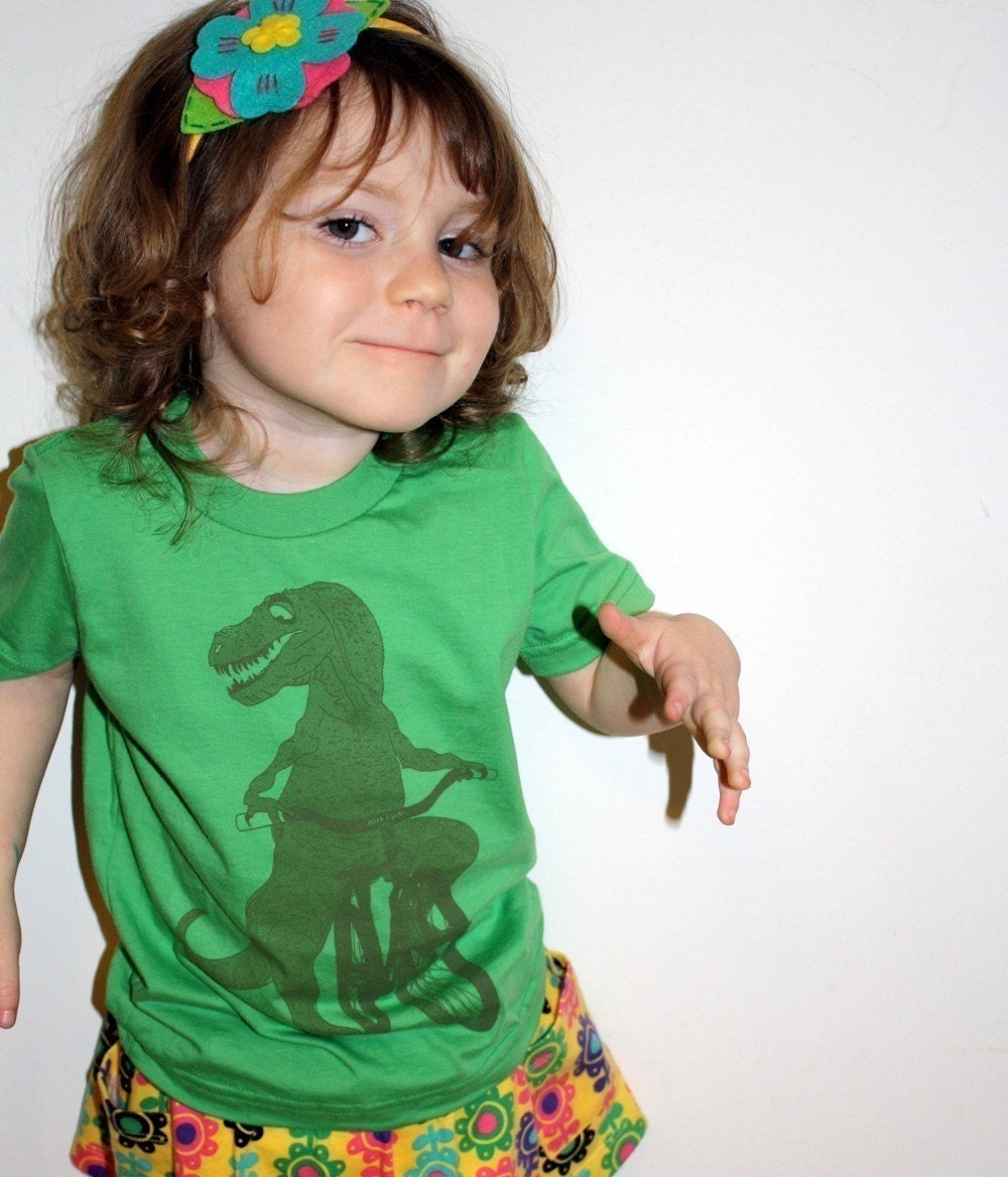 Hearts Dinosaur on a Bicycle - Grass Green Short Sleeve T-Shirt - American Apparel - Available in 2, 4, 6