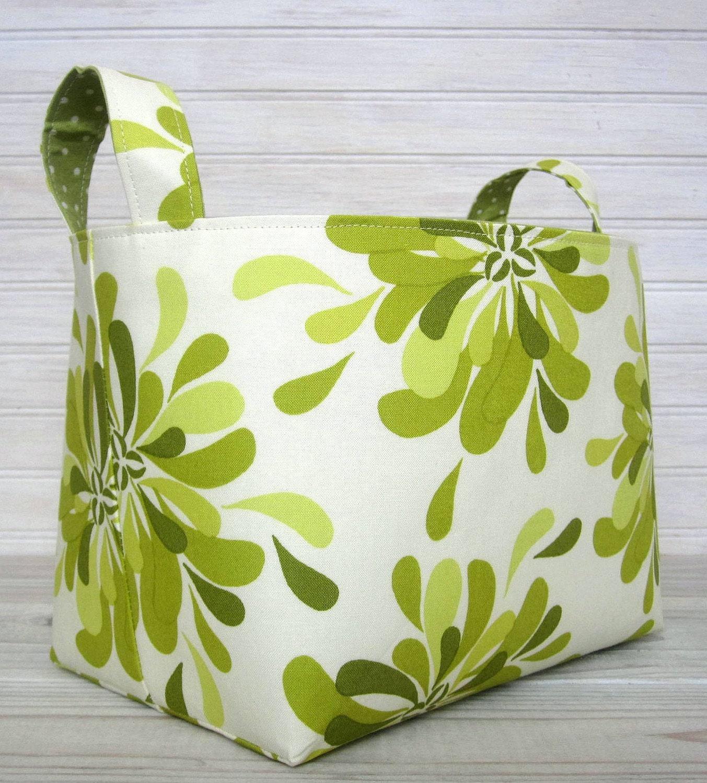Organizer Basket Fabric Bin - Spring Green Petals