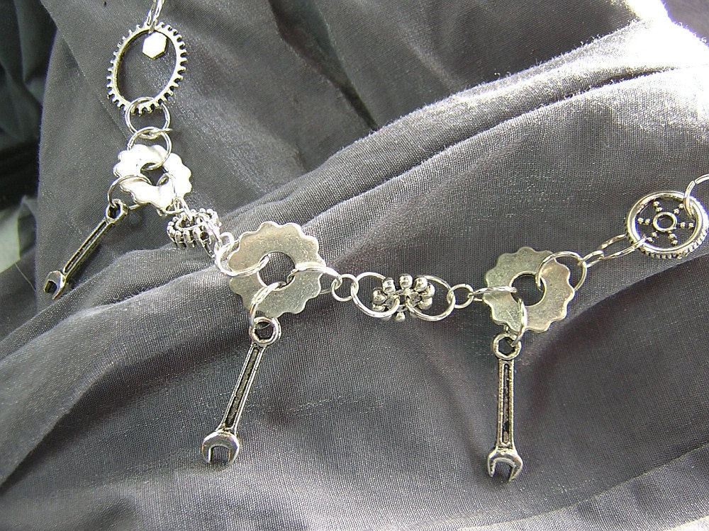 Steampunk Style Silver Gears and Wrenches Robot Clockwork Necklace - Handmade by Rewondered D225N-00187 - $32.95