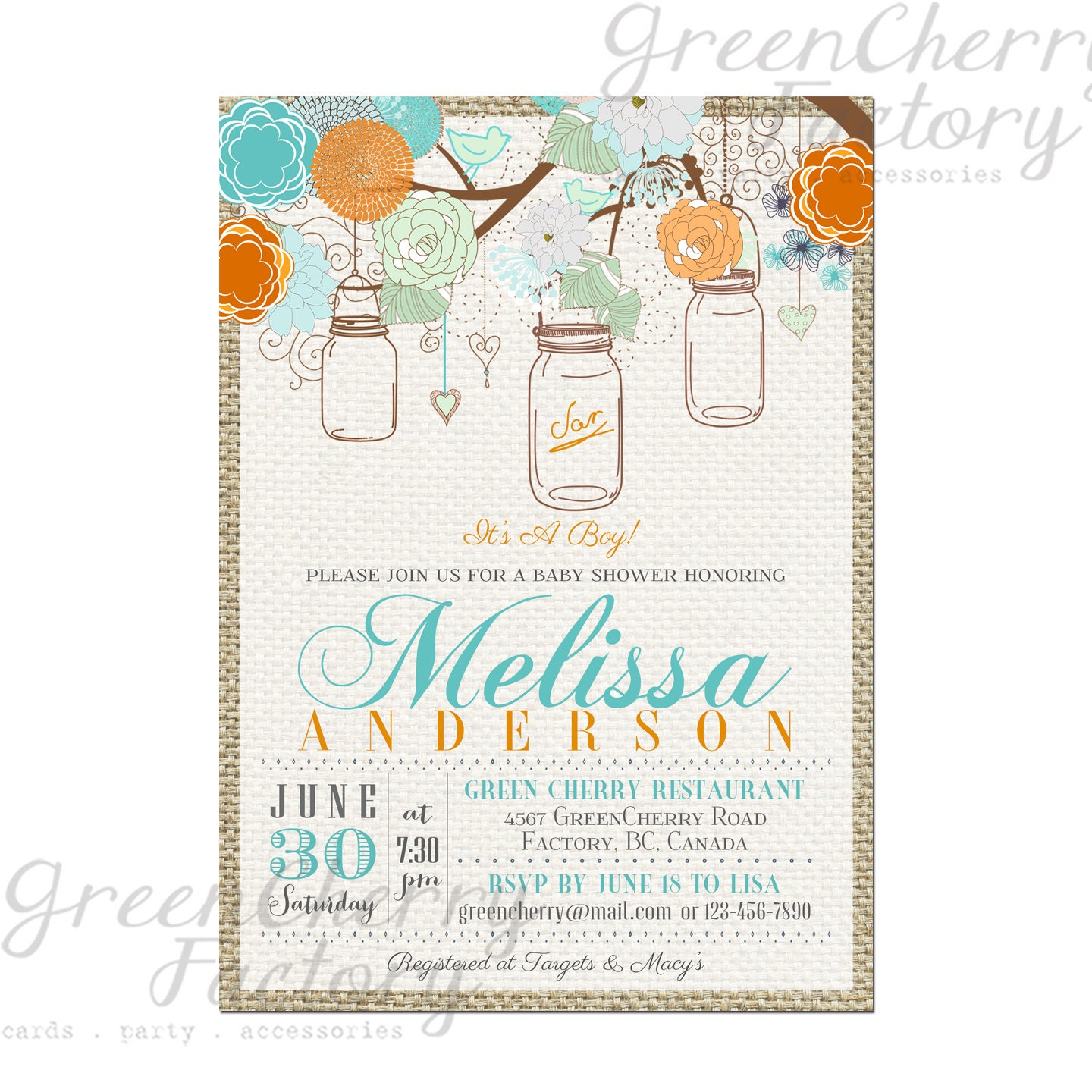 items similar to vintage mason jar baby boy shower invitation burlap