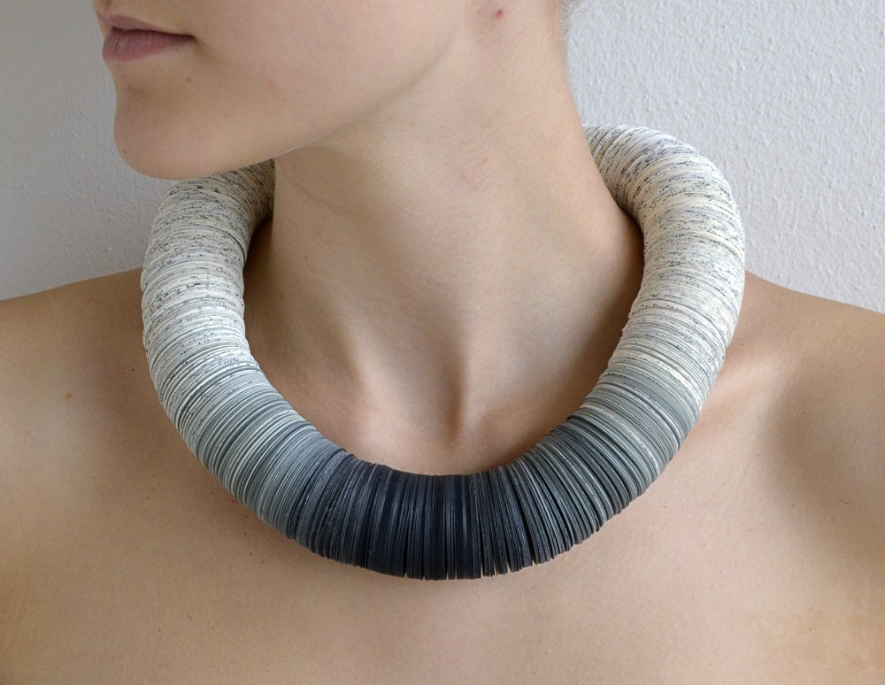 Statement Necklace made of book pages and papers: SHADES of Grey - PaperStatement
