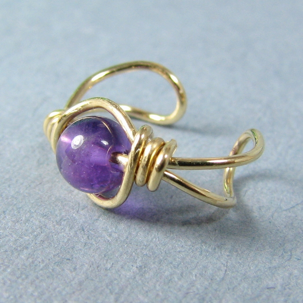 14k gold filled ear cuff Genuine Amethyst