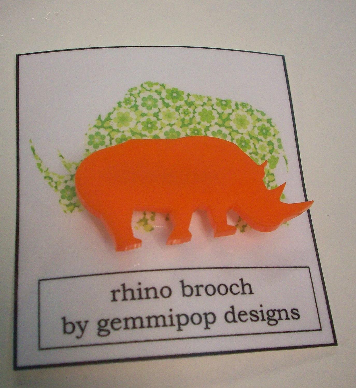 Rhino Brooch - laser cut acrylic