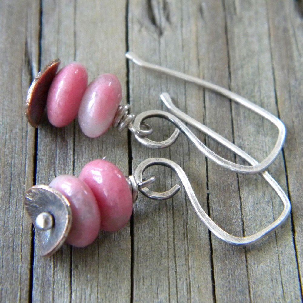 Natural Pink  Rhodonite Marbled Quartz - Oxidized Sterling Silver Earrings
