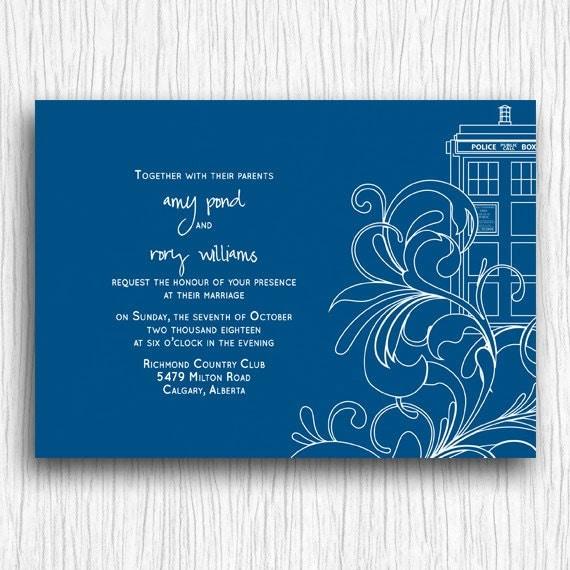 Invitation de mariage imprimable - Swirls Tardis bleu et blanc