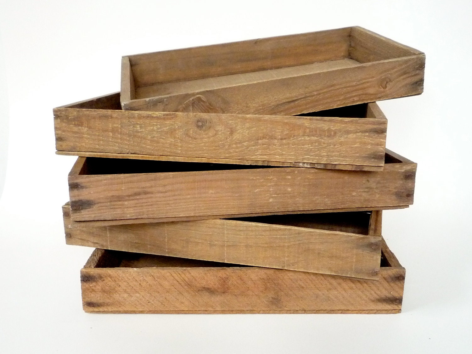 Wooden fruit crate vintage rustic tray by crolandco on etsy for Wooden fruit crates
