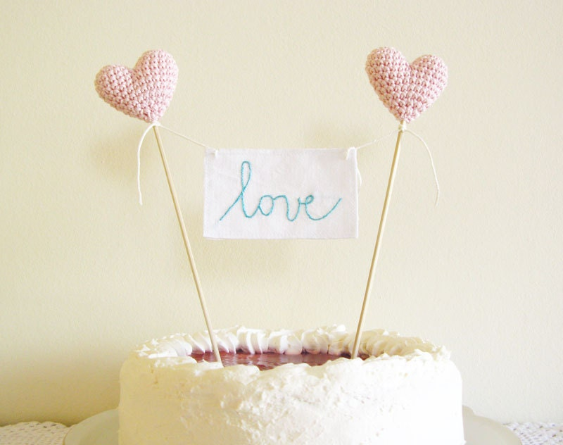 Pink Wedding Cake Topper with Love Sign by Cherrytime on Etsy