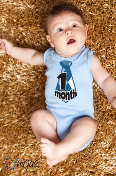 NECK TIE argyle monthly onesie stickers