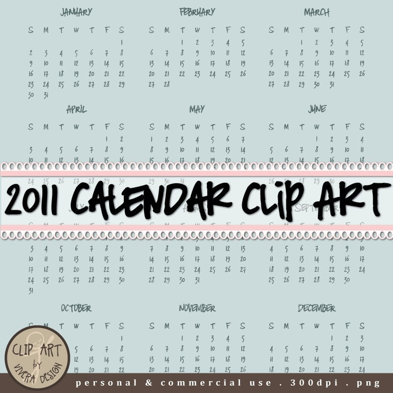 CLIP ART - 2011 Calendar - Handwritten with Marker - Individual month,