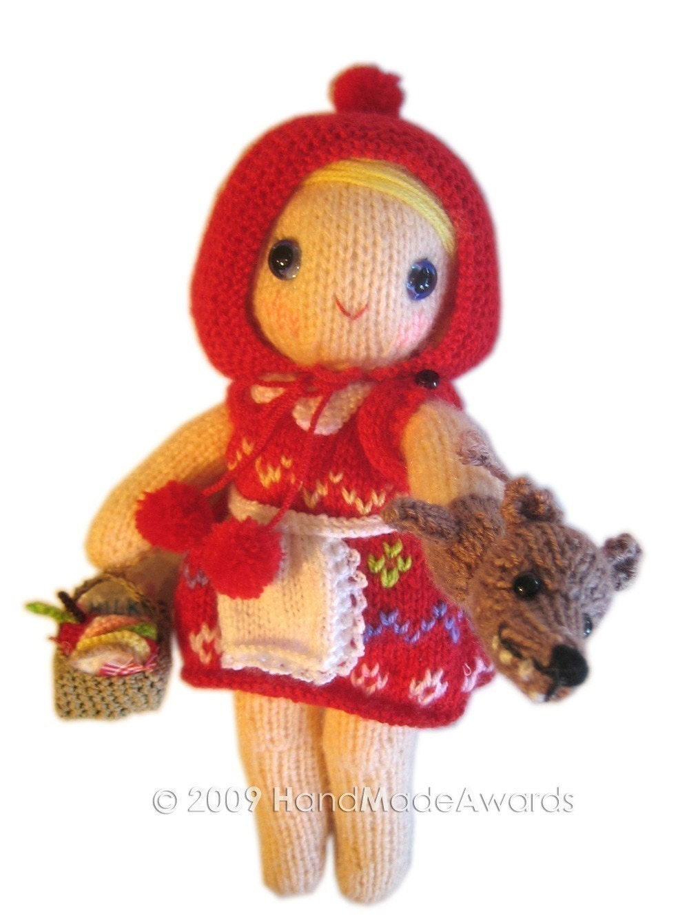 ADORABLE LITTLE RED RIDING HOOD girly DOLL  with puppet WOLF pocket friend KNIT PATTERN pdf EMAIL by HandMadeAwards