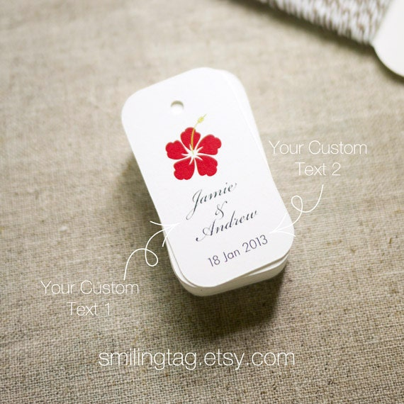 Hawaiian Theme Wedding Favor Tags Personalised Gift By SmilingTag