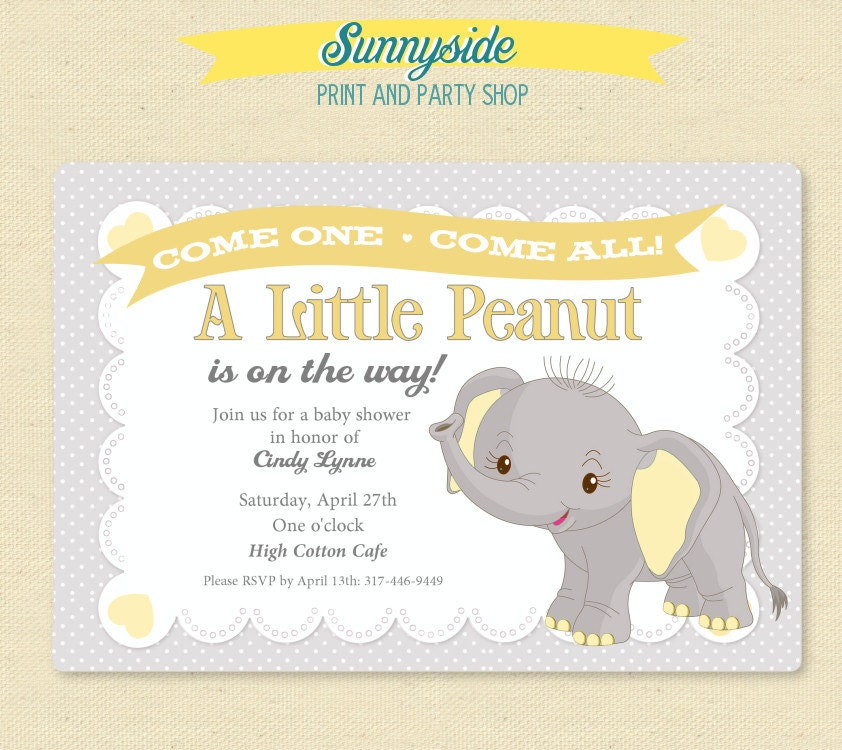 elephant little peanut baby shower invitation printable invite in