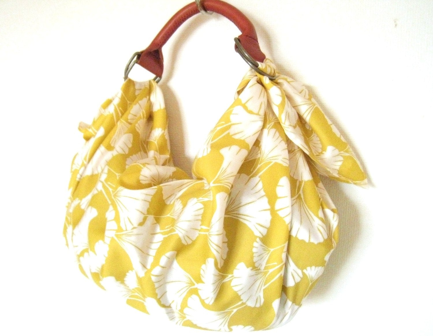 Organic Cotton Fabric Bag with the leather handle-ginkgo print