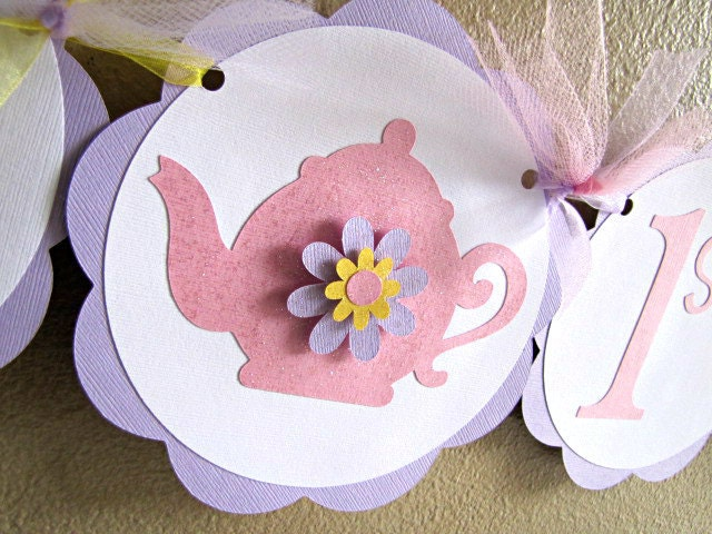 Tea Party Banner - Grace - Happy 1st Birthday - ScrapYourStory