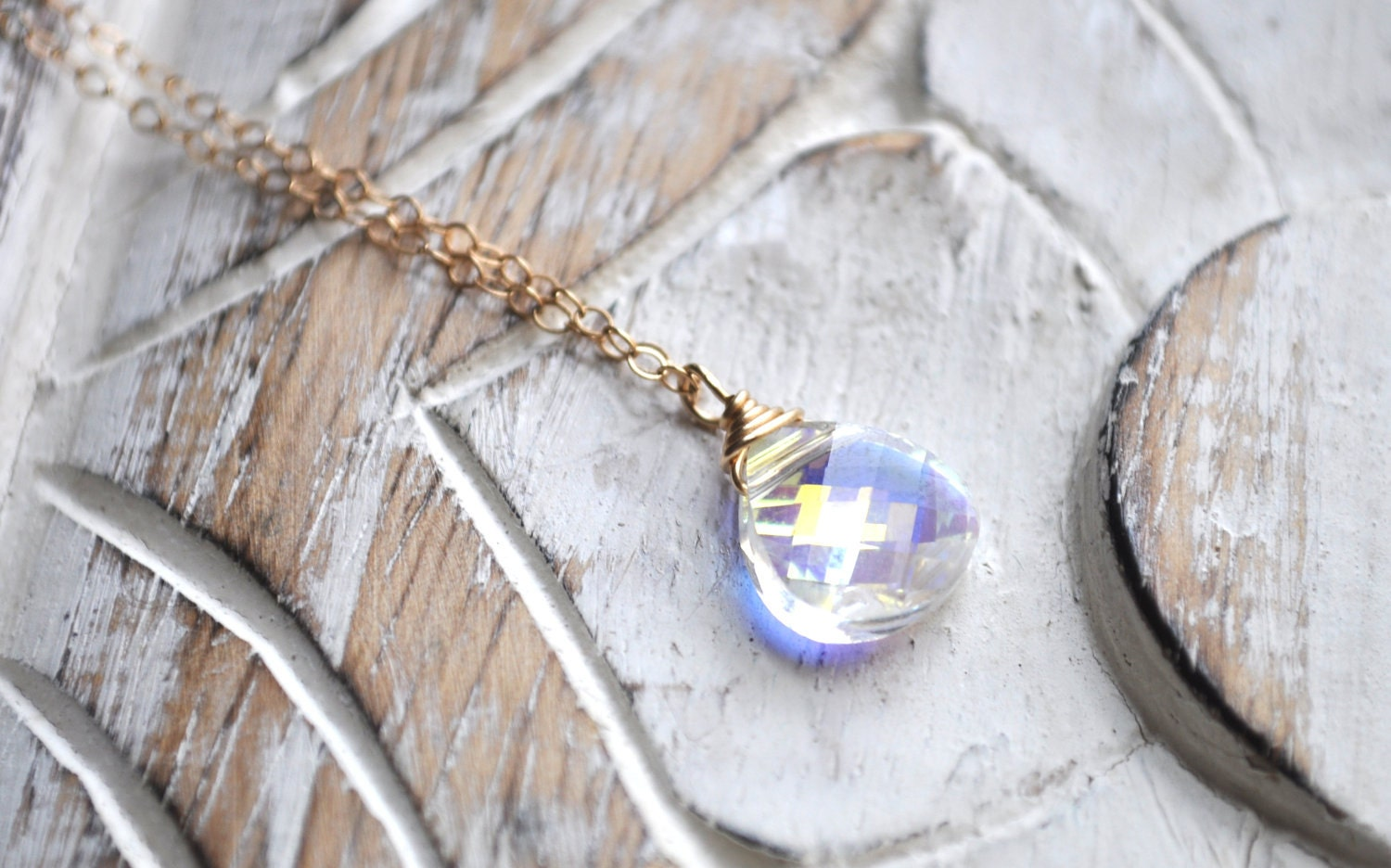 Sunlight Necklace - swarovski crystal briolette gold filled aurora borealis sparkle - simple dainty jewelry - adencreations