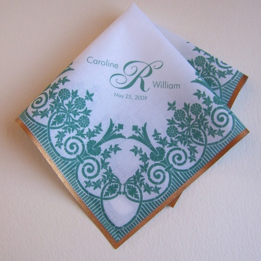 Personalized  wedding handkerchief with printed lace