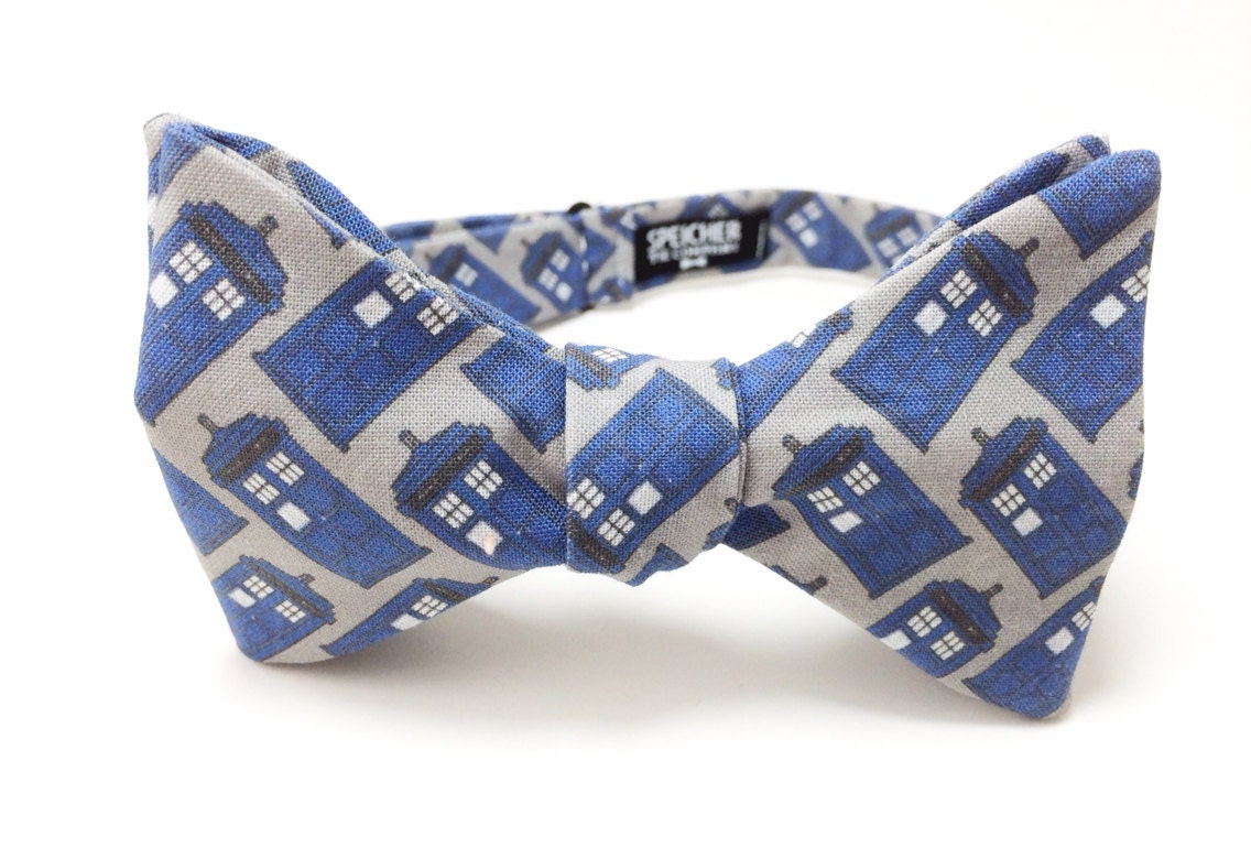 tardis on grey doctor who bow tie bowtie by speicherbowtieco