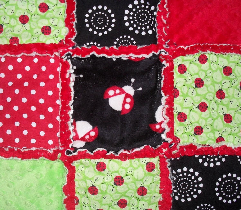 Custom Little Ladybug Minky Rag Quilt