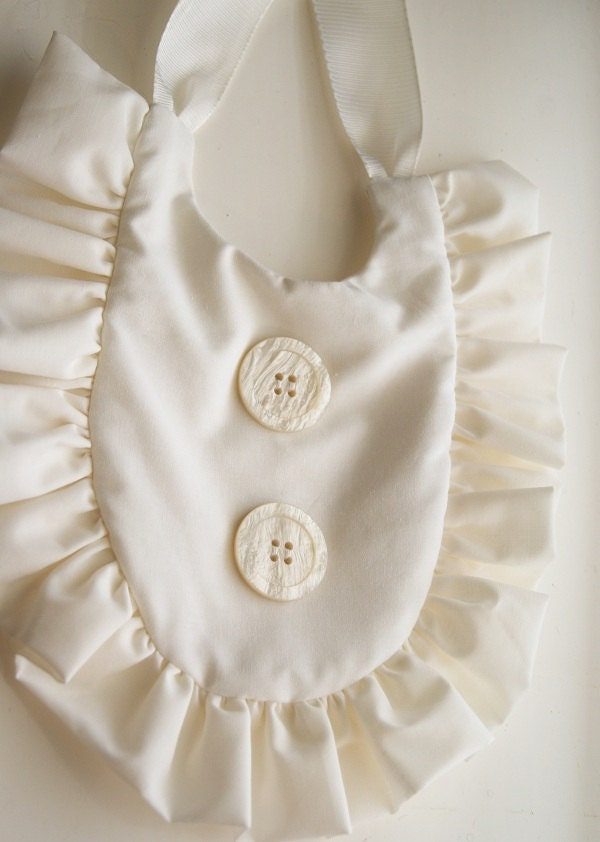 Baby Girl Bib Ruffle  - All Cream / Beige with Pearl Buttons, Baptism, Christening - apPEARelTREE