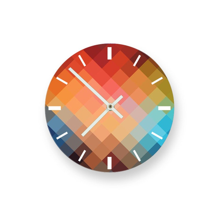 "Colorful Squares Geometric Pattern 8"" Wall Clock - PartyMojo"