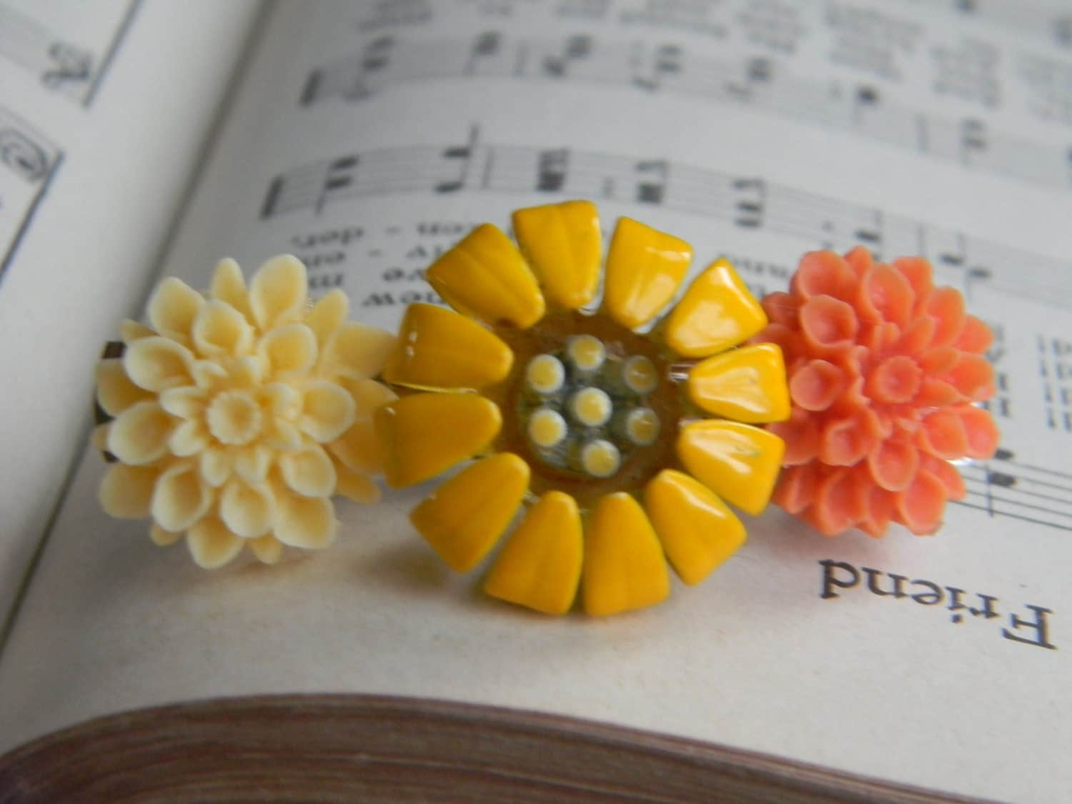 Vintage Spring Yellow and Orange Collage Hair Barrette