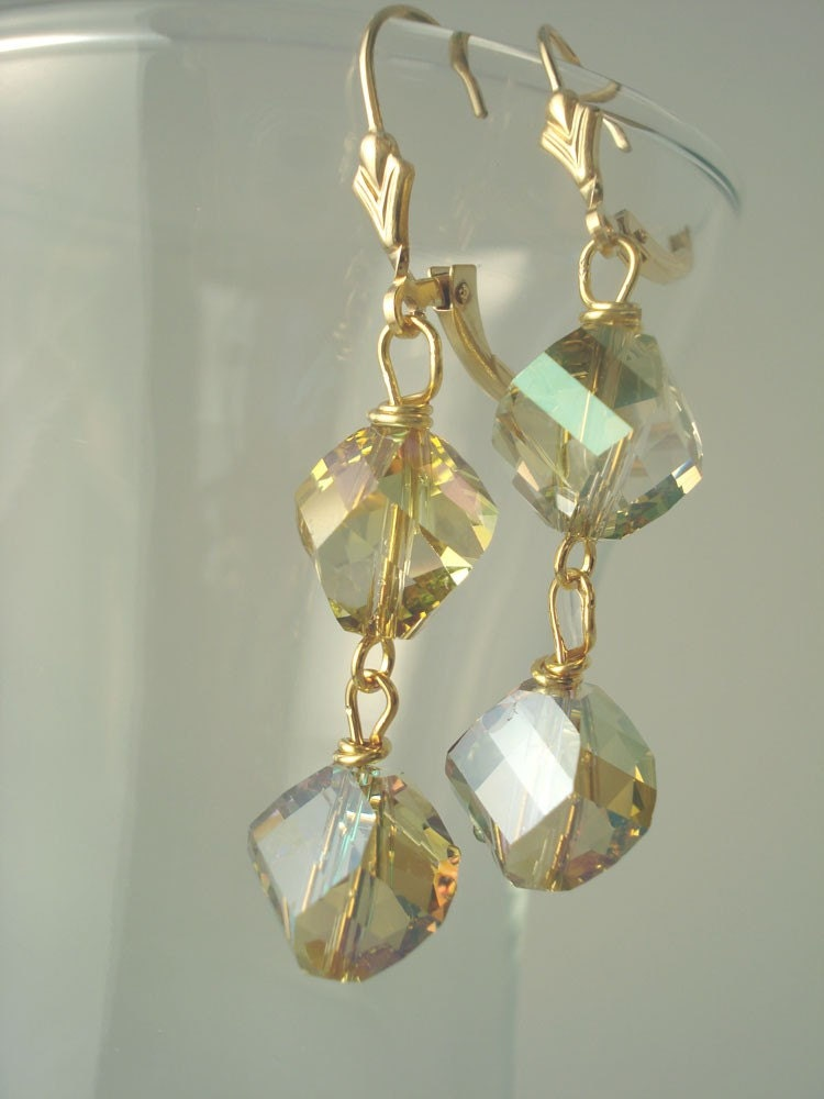 Verde Green Modern Crystal Drop Gold Fill Earrings