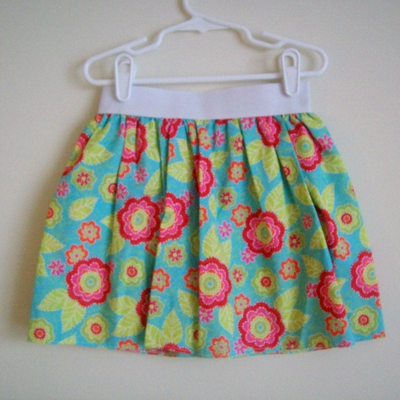 Thick Elastic waistband skirt- bright floral- 3T/4T