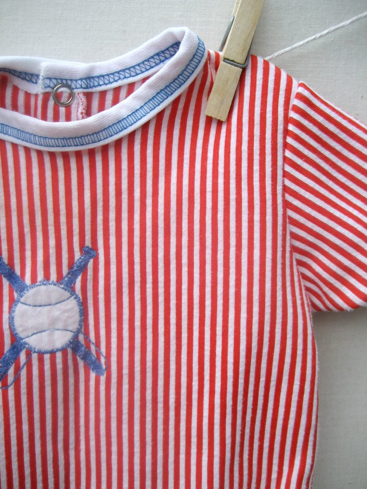Vintage Baby Striped Baseball Onesie
