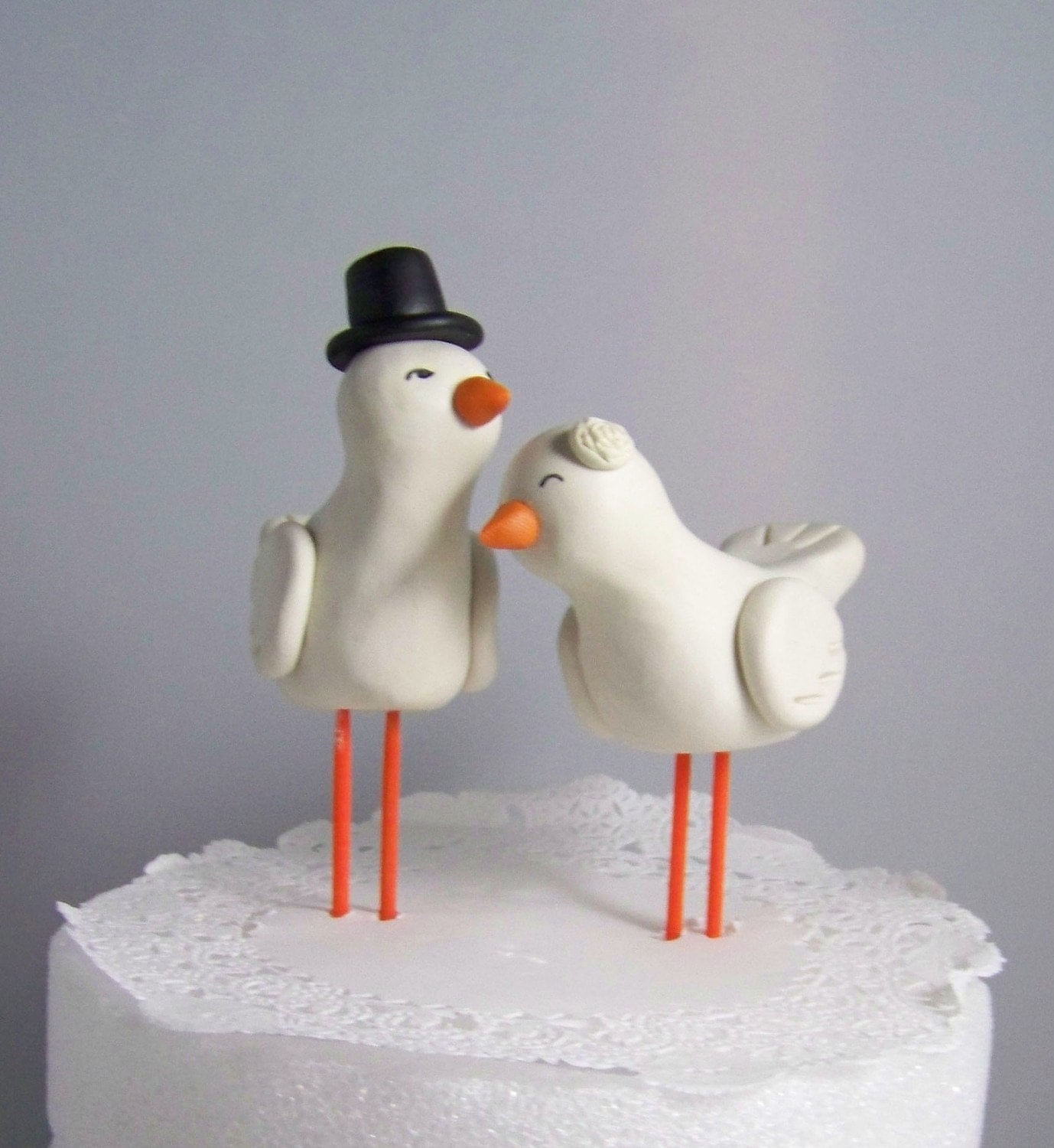 Large High Fashion Nuzzling Love Birds Cake Topper Hand Sculpted Your Choice of Colors