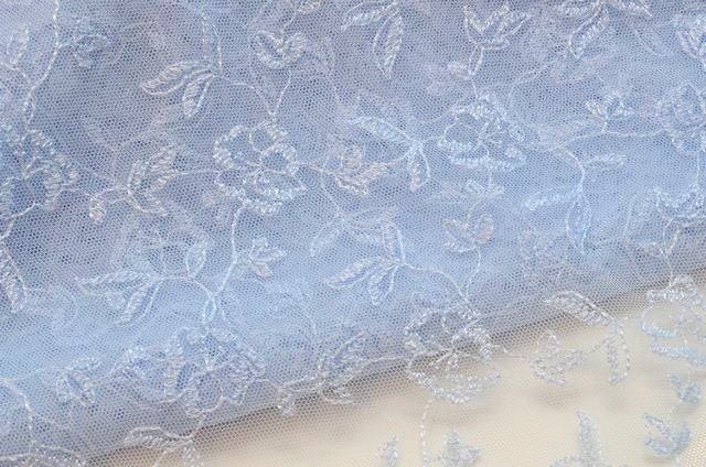 Light blue flowered lace fabric sky blue tulle by for Night sky fabric uk