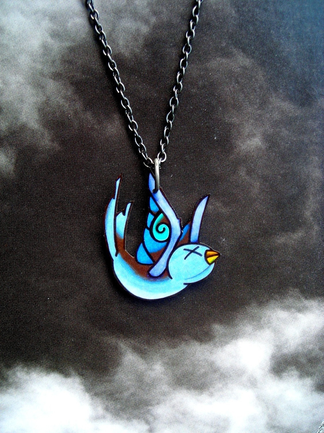Falling Swallow Tattoo Necklace