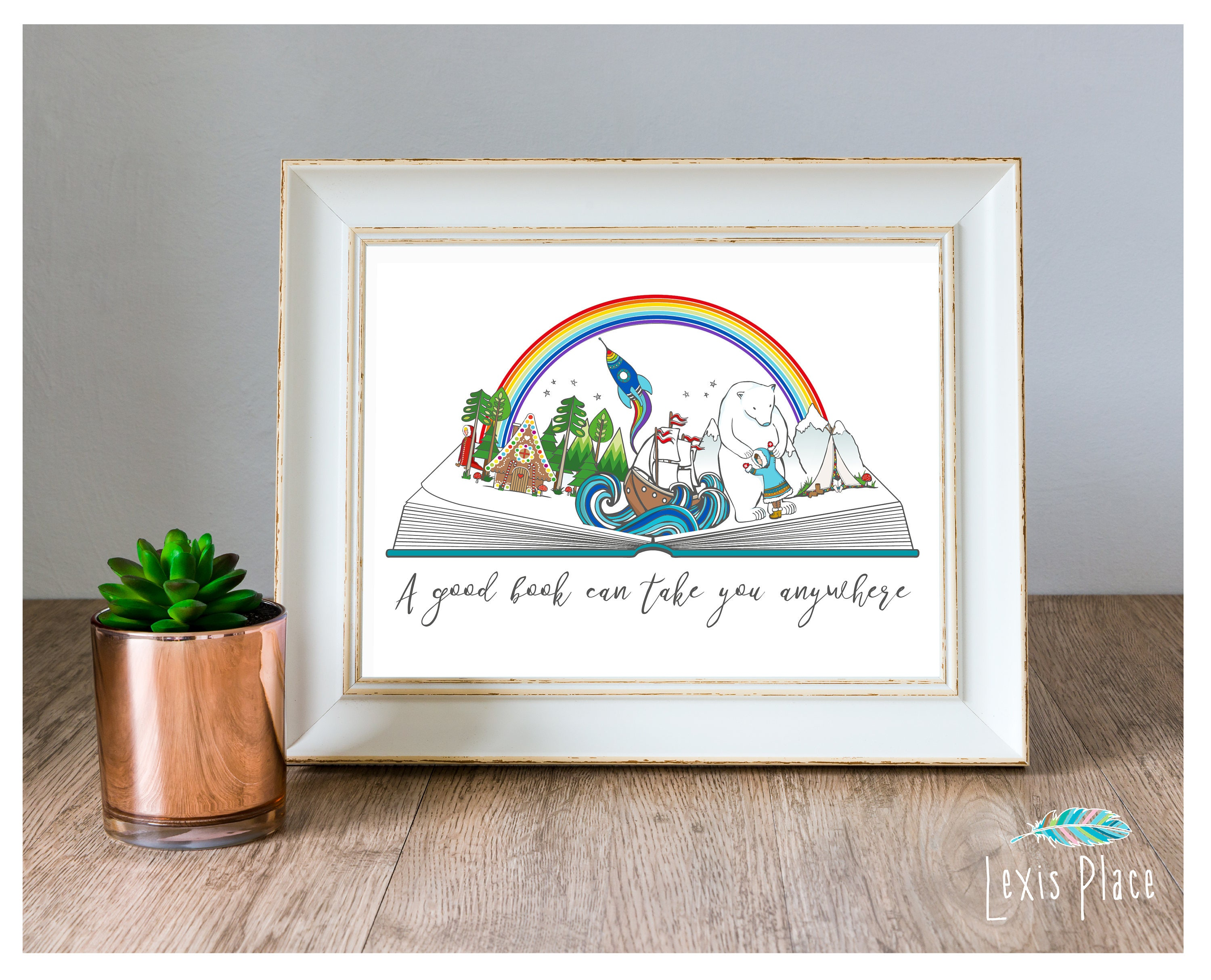 Image of A good book can take you anywhere, Book lover gift, Book fan, Young reader, Curl up with a good book, Get lost in a book, Pop up book print