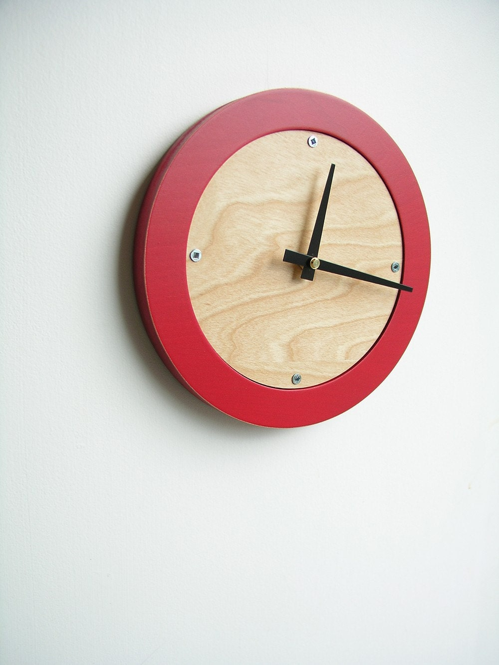 poppy red modern wall clock FREE SHIPPING