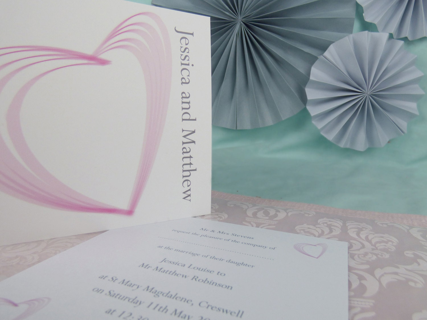 Heart Illustrated Personalised Wedding Invitation