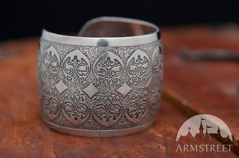 Medieval Fantasy Etched Stainless Steel Wide Width Bracelet - armstreet