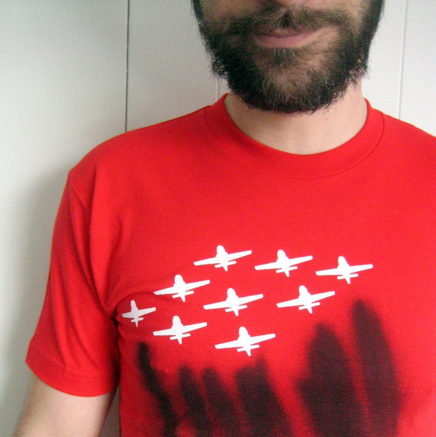 Airplane Formation Graphic T-Shirt - Unique Screenprint and Spraypainted Men's Size Small Red, White and Black