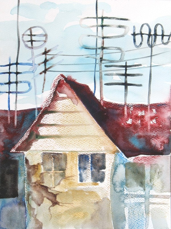 Neighborhood - original watercolor painting (one of a kind) - FluidColors