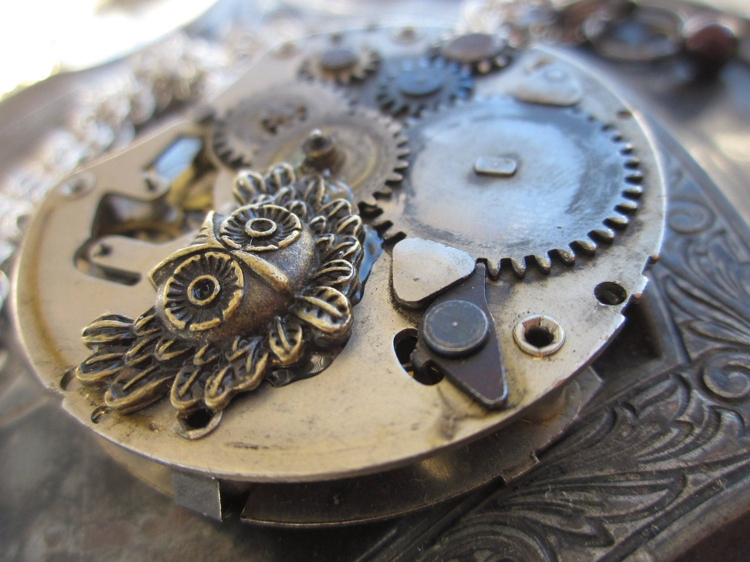 Steampunk Owl Pocket Watch  Pendant Necklace