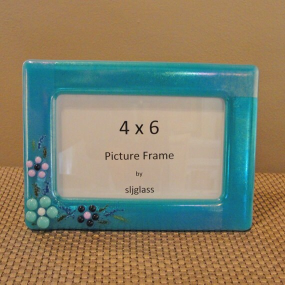 4 x 6 fused glass picture frame photo frame flowers by