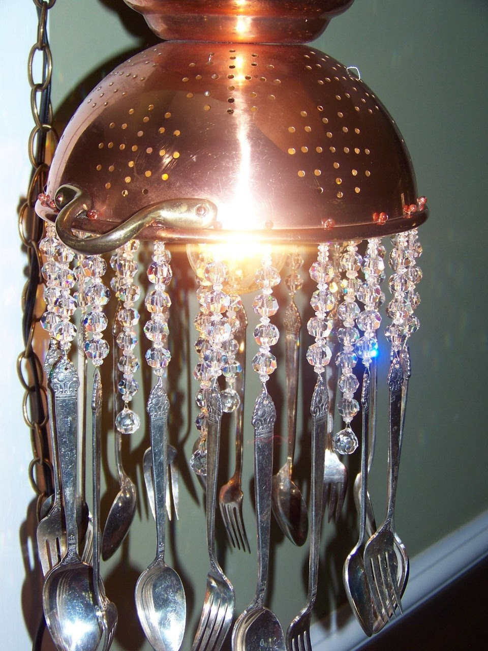 Gorgeous and Unique Copper and Crystal Colander Chandelier