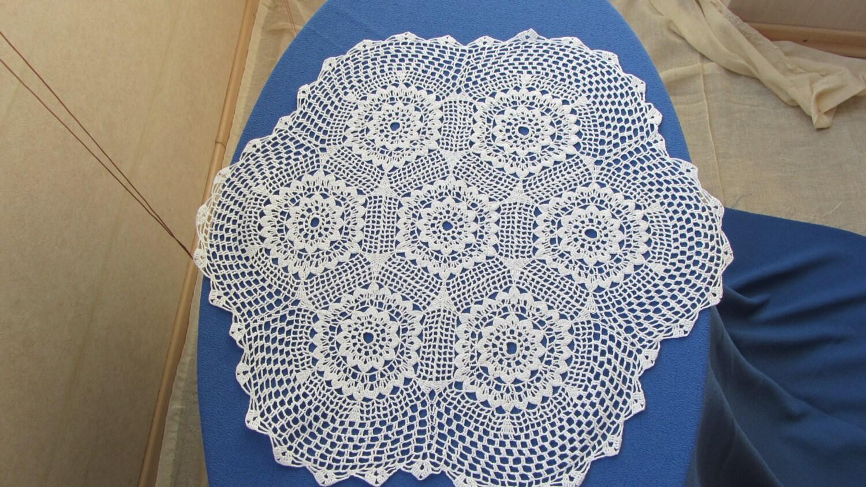 Crochet cotton lace, USSR lace napkin, Cotton lace napkin, Vintage Cotton lace d