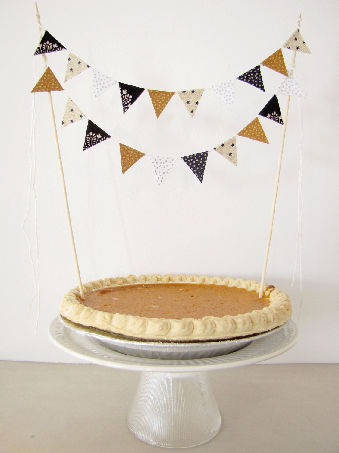 "Fabric Cake Bunting Decoration - Cake Topper - Wedding, Birthday Party, Shower - in ""New Years Eve"" black, gold, white, stars, silver dots"