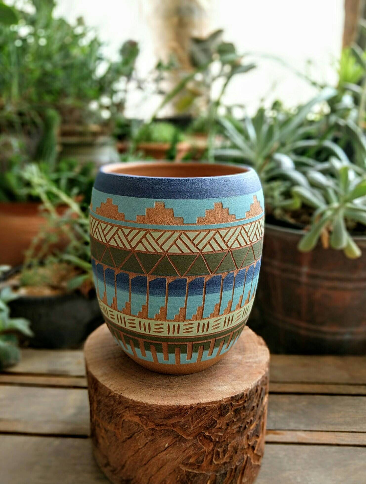made to order ceramic planter pottery navajo inspiration