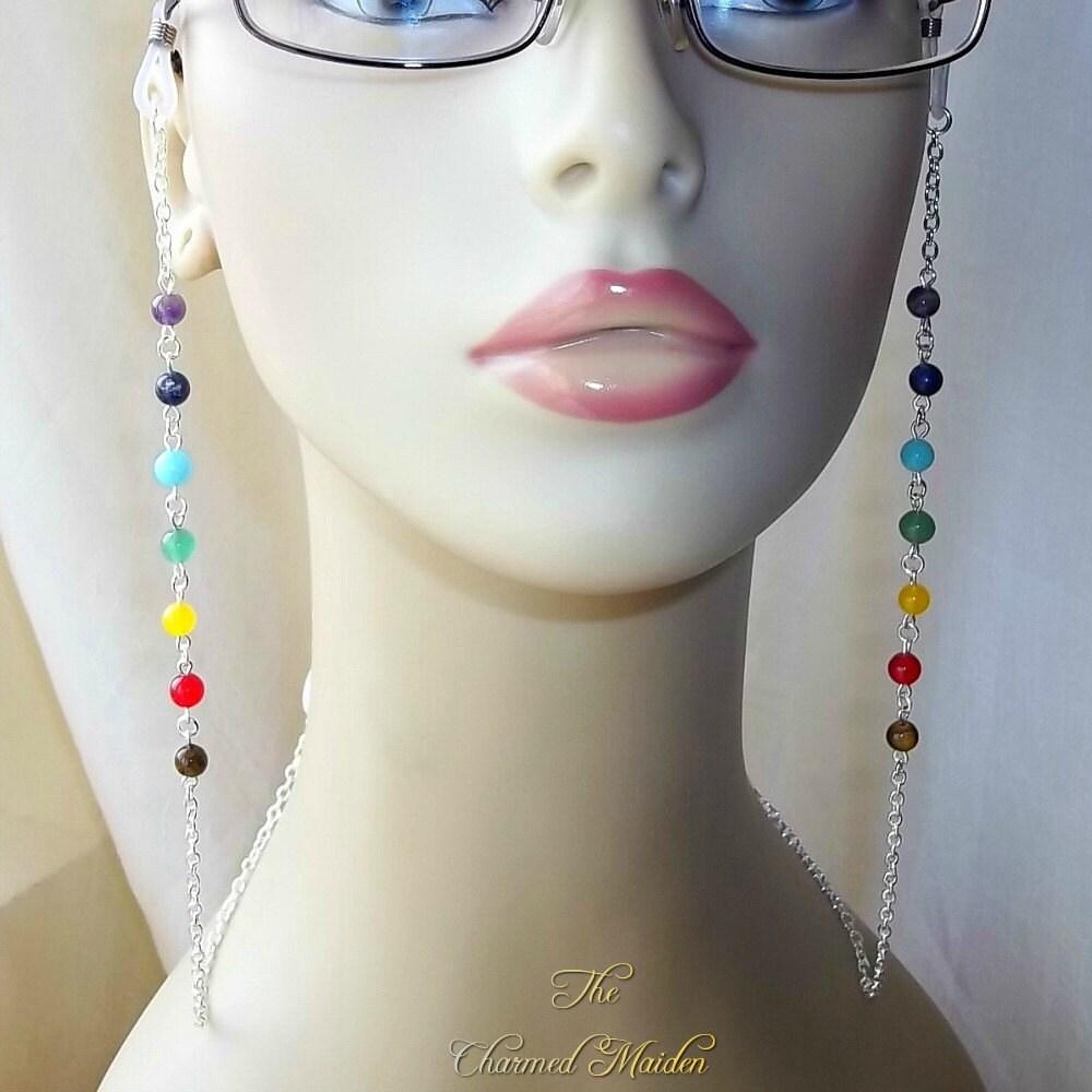 Glasses Chain Chakra Glasses Chain Spectacle Chain Gemstone Glasses Chain Eyeglasses Glasses Holder Reading Glasses Chain Rainbow