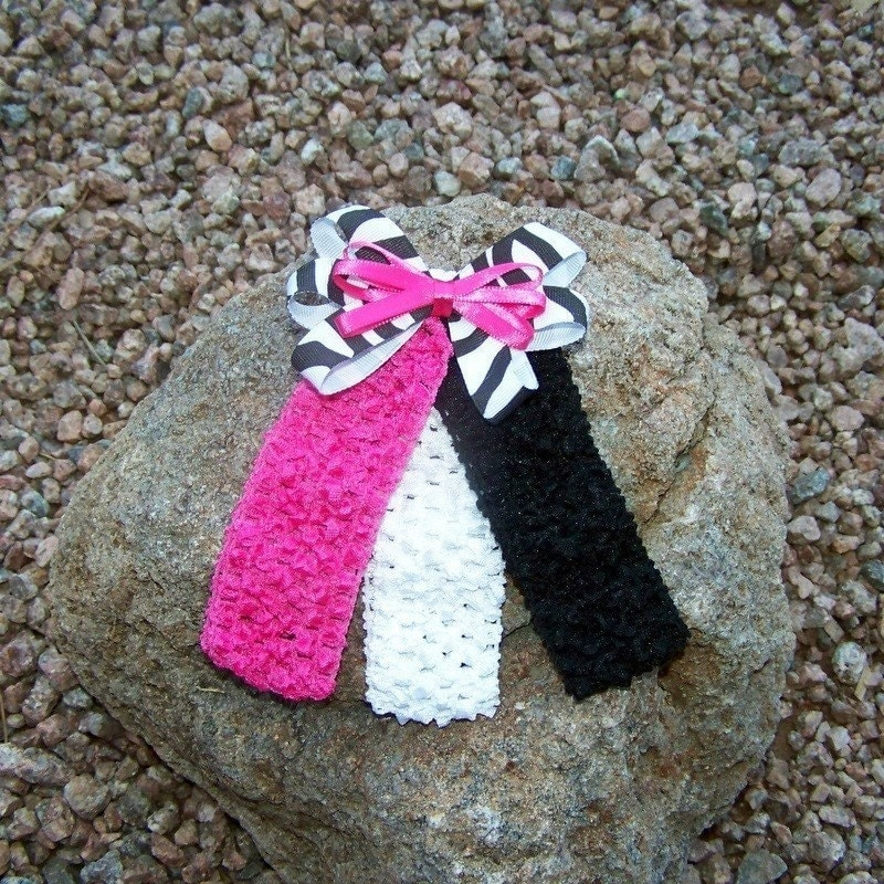 Zebra Print Bow with Hot Pink